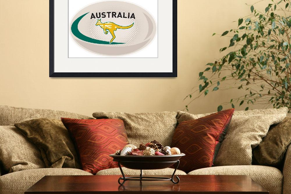 """Rugby Ball Australia kangaroo wallaby&quot  (2013) by patrimonio"