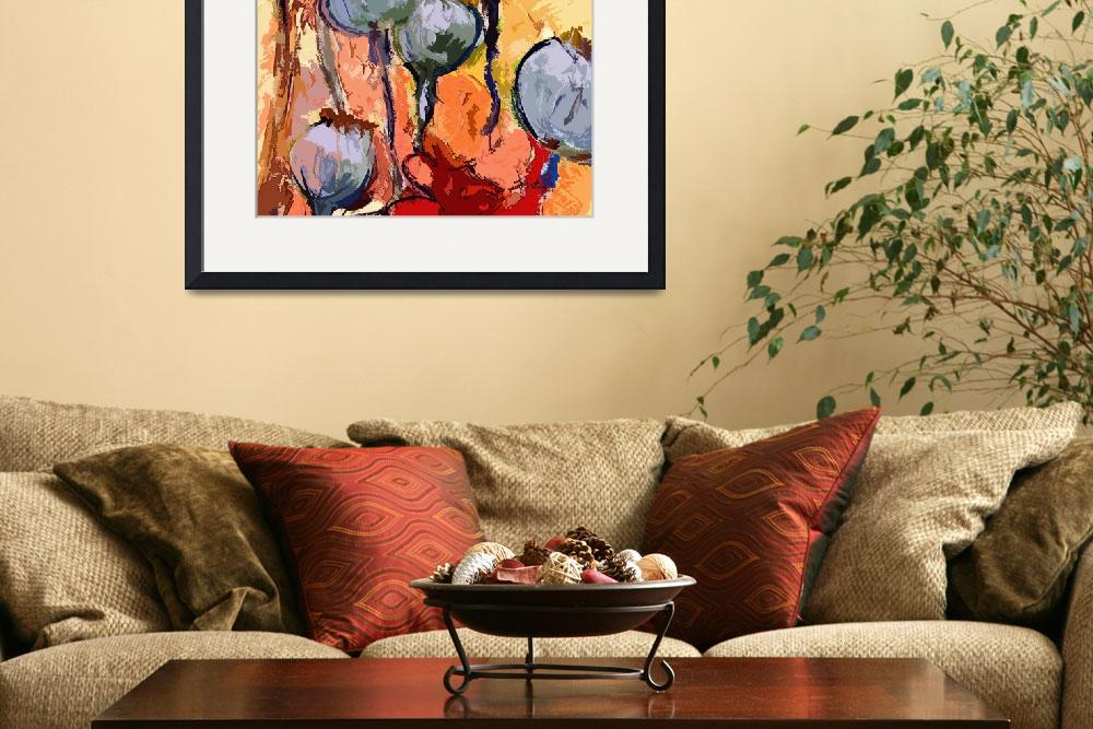 """Abstract Poppy Pods Floral Painting&quot  (2012) by GinetteCallaway"