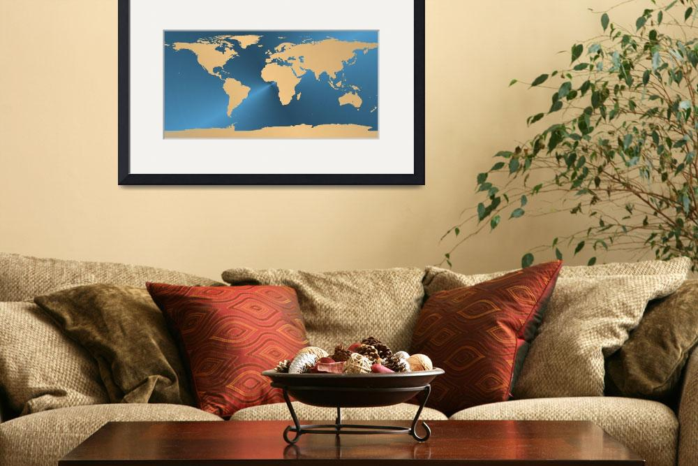 """Gold world on blue map&quot  (2012) by gsquared"
