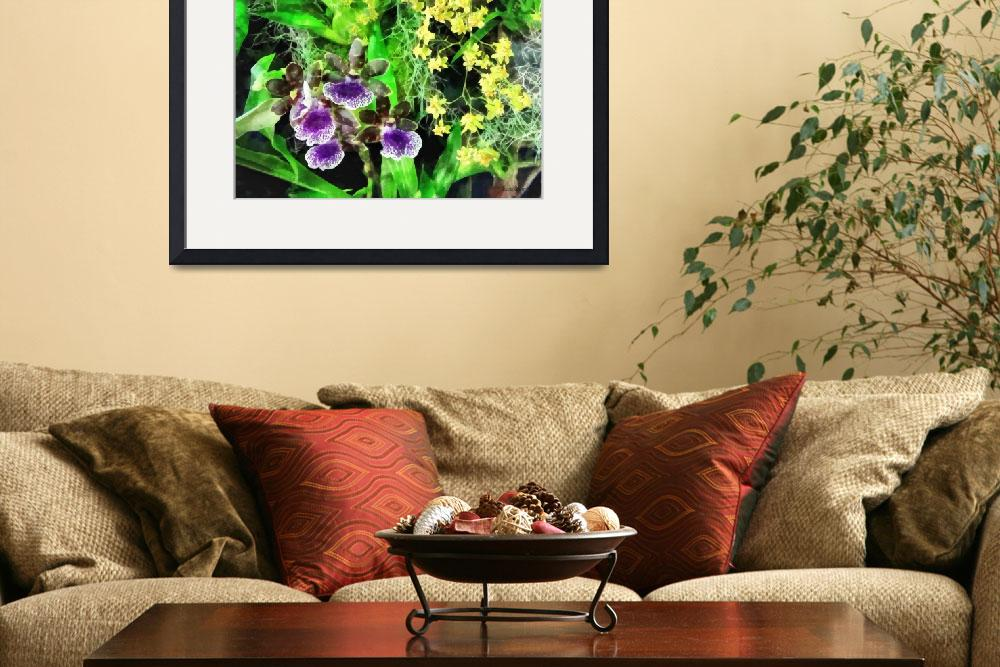 """Geyser Jaimie and Golden Fantasy Orchids&quot  by susansartgallery"
