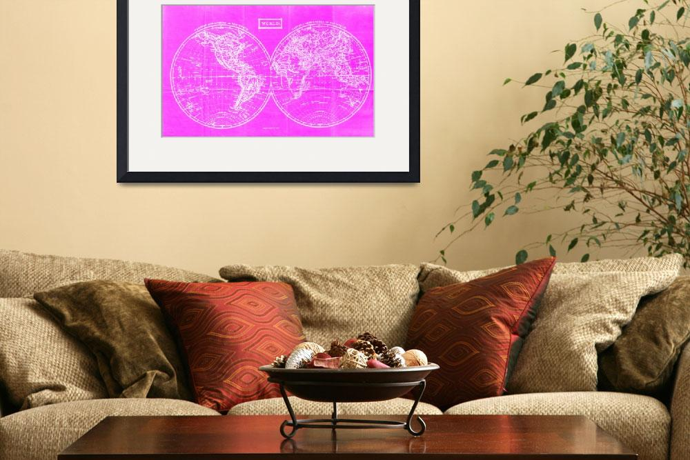 """Vintage Map of The World (1857) Pink & White&quot  by Alleycatshirts"