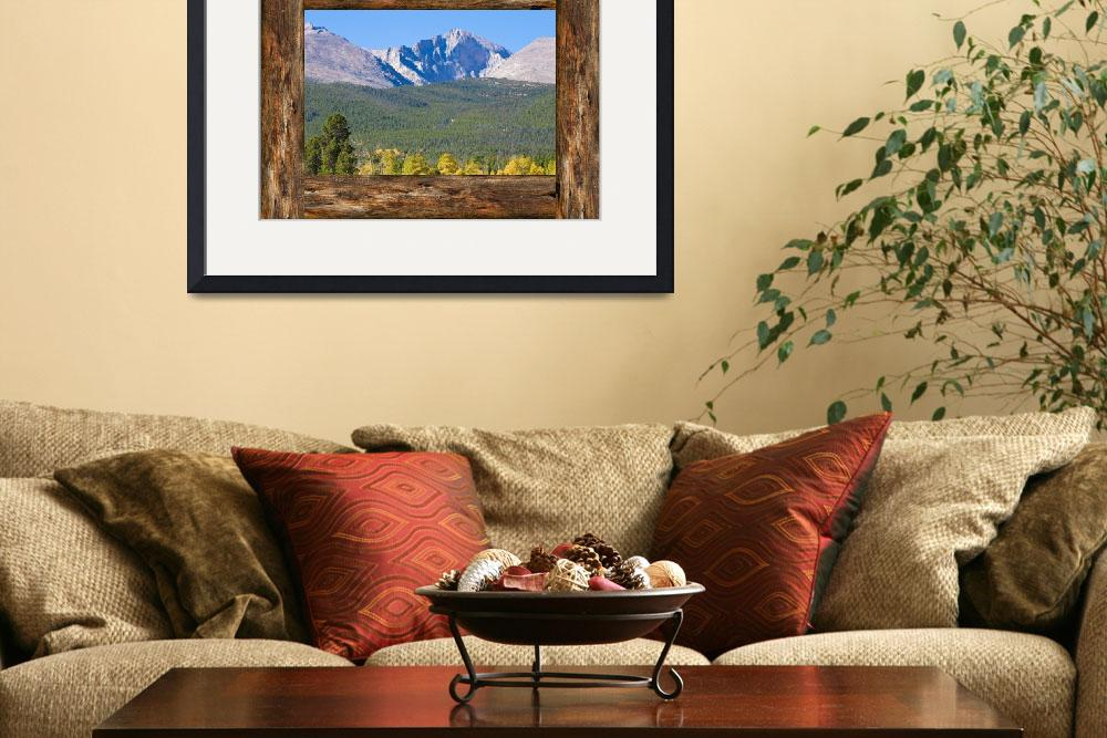 """Colorado Longs Peak Rustic Wood Window View&quot  (2016) by lightningman"