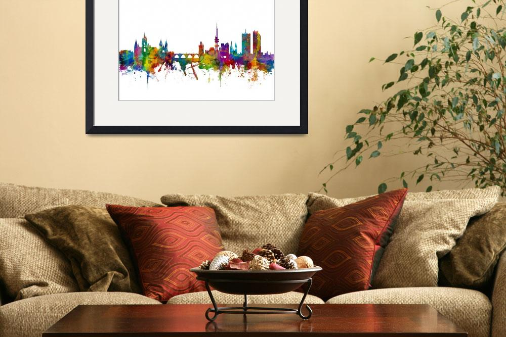 """Prague (Praha) Czech Republic Skyline&quot  (2016) by ModernArtPrints"