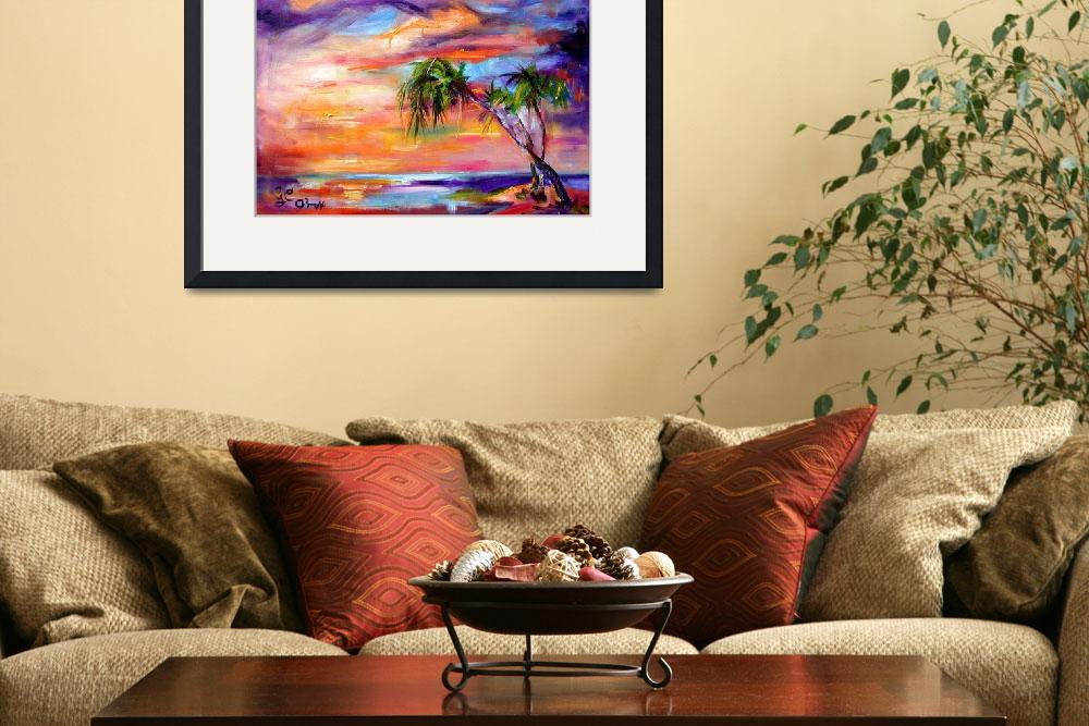 """Florida Beach & Palms Oil Painting by Ginette&quot  (2003) by GinetteCallaway"