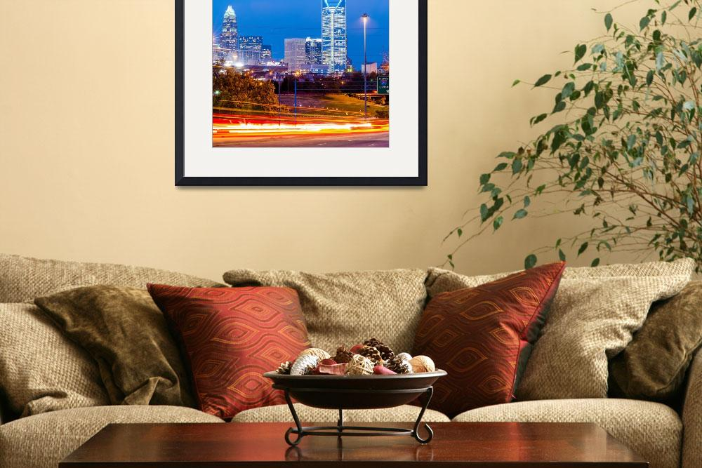 """charlotte city skyline at night&quot  by digidreamgrafix"