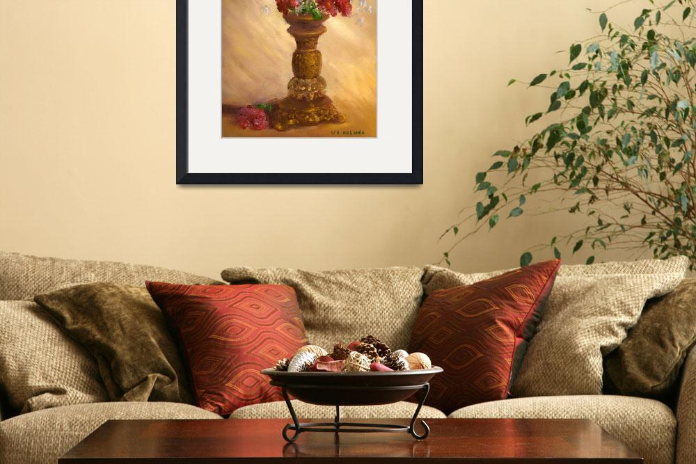 """Still Life Impressionist Art; Red Flowers&quot  (2004) by Lenora"