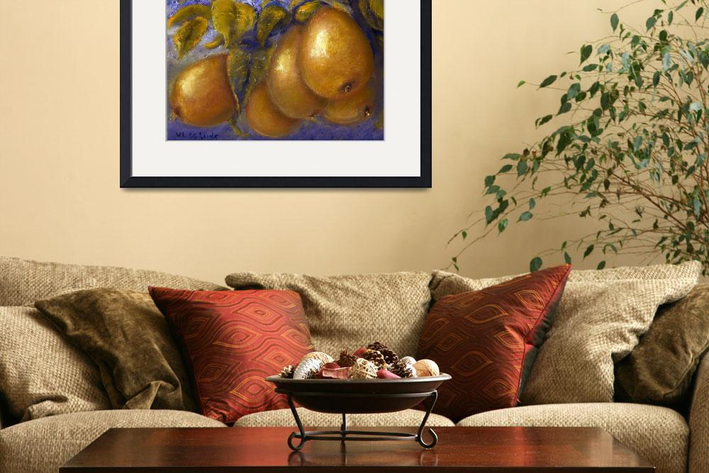 """Pears in Blue&quot  (2004) by Lenora"