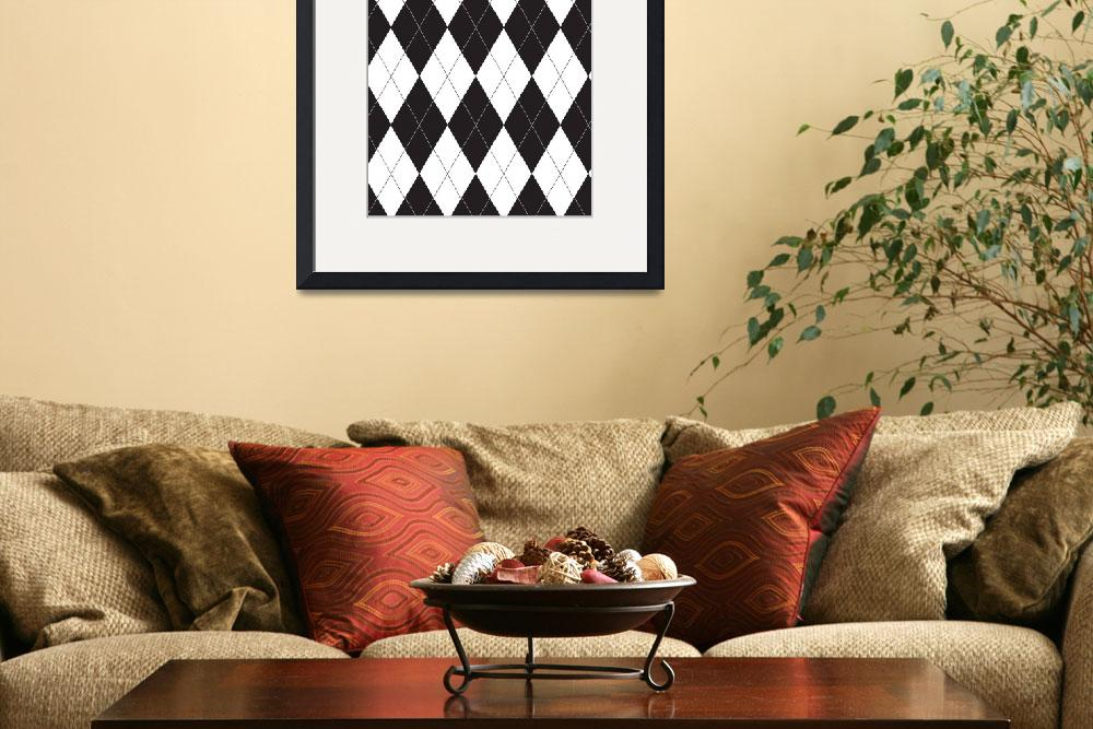 """Black and White Argyle&quot  (2013) by ValeriesGallery"