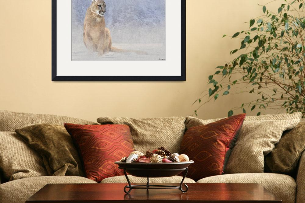 """Mountain Lion in Winter Landscape&quot  (2011) by NAR90"