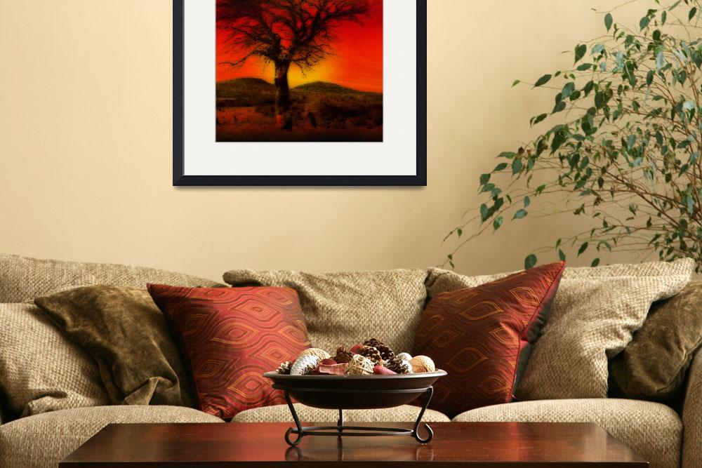 """Oil Pastel Tree in Sunset&quot  (2008) by Attentiongetters"