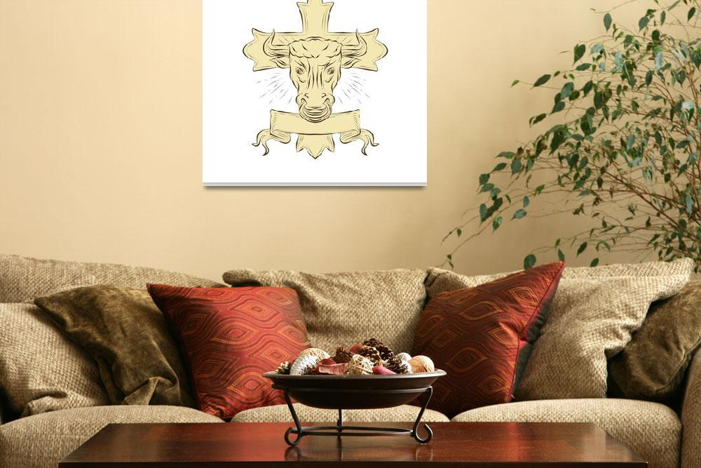 """Taurus Bull Christian Cross Drawing&quot  (2017) by patrimonio"