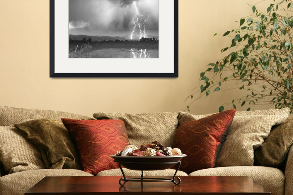 """Lightning Striking Longs Peak Foothills 6BW&quot  (2012) by lightningman"