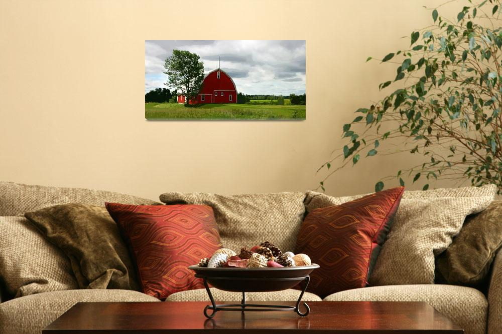 """Rustic Red Barn and Verdant Green Fields&quot  (2015) by ElainePlesser"