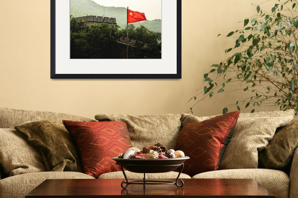 """Great Wall and Flag of China&quot  (2015) by StuartSlimpPhotography"