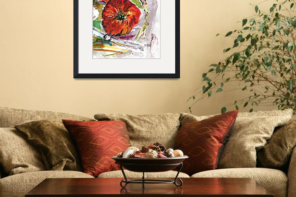 """Modern Watercolor Heirloom Tomatoes&quot  (2016) by GinetteCallaway"