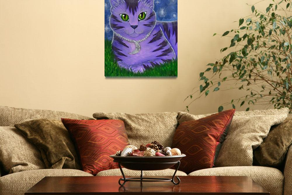 """Astra Celestial Moon Cat - Purple Cat Art&quot  (2003) by tigerpixie"