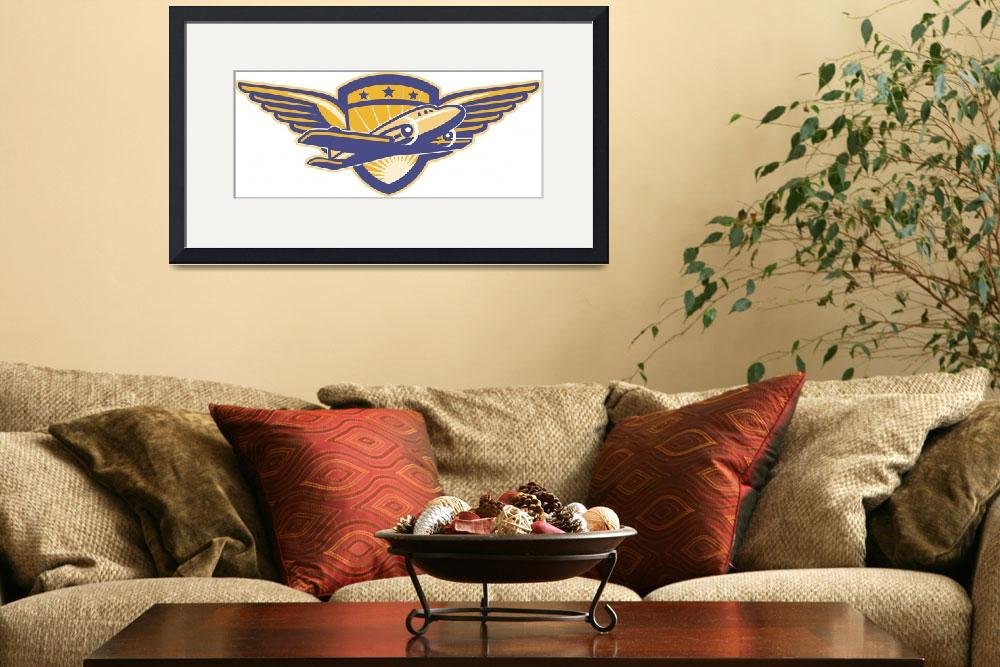 """Propeller Airplane Shield Wings Retro&quot  (2013) by patrimonio"