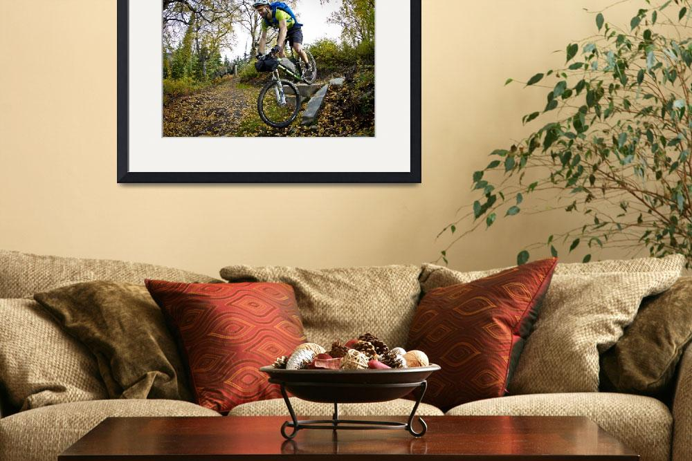 """Man Mountain Biking Over Rocks, Anchorage Hillside&quot  by DesignPics"
