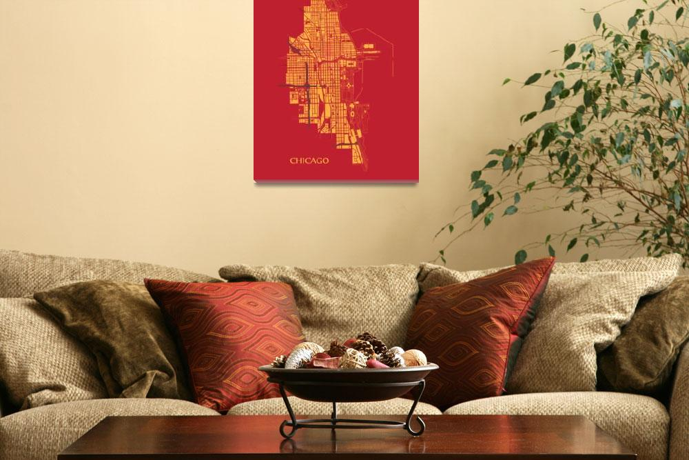 """Chicago - Gold on Red with Title&quot  (2013) by geosthetics"
