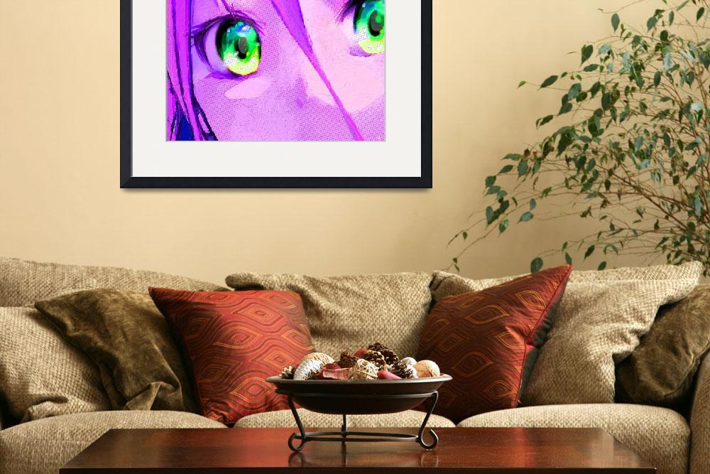 """Anime Girl Eyes Pink&quot  (2015) by RubinoFineArt"
