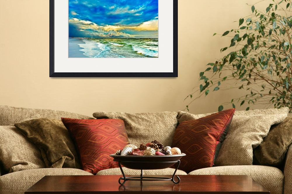 """Painted Emerald Green Seascape Blue Fine Art Print&quot  (2009) by eszra"