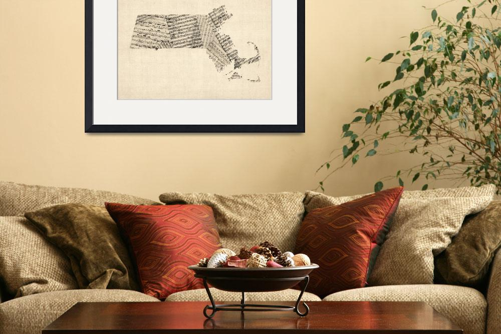 """Old Sheet Music Map of Massachusetts&quot  by ModernArtPrints"
