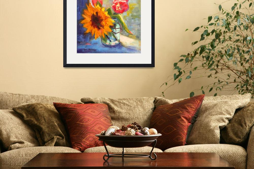 """Sunflower and Tulips&quot  (2013) by KimStenbergFineArt"