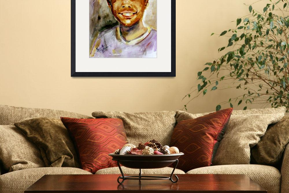 """Cute Boy Smiling Watercolor Painting by Ginette Ca&quot  (2003) by GinetteCallaway"
