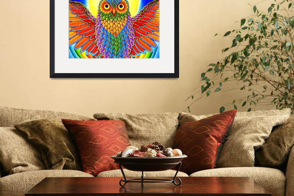"""Psychedelic Rainbow Owl&quot  (2016) by psychedeliczen"