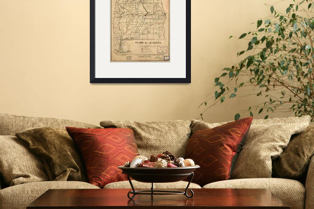 """Vintage Map of Alabama (1866)&quot  by Alleycatshirts"