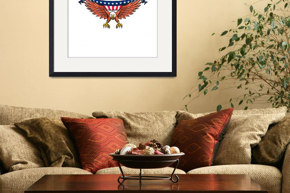 """American Eagle Swooping USA Flag Retro&quot  (2016) by patrimonio"