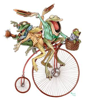 Froggy Quartet by artist Kyle Gentry. Giclee prints, art prints, illustration, four frogs, a barbershop quartet, singing and riding a late 1800's penny-farthing bicycle; from an original pencil and computer drawing; frog art