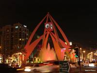 Dubai Shopping Festival:   Clock Tower in a glow o
