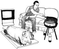 Drawing of man and an entire BBQ pig
