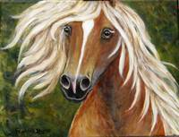Horse Painting , Golden Palamino, Whimsical