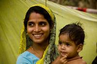 woman and son, puri, orissa, india