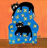 two cats on blue chair-2