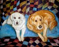 Golden Retrievers Painting Dog Friends