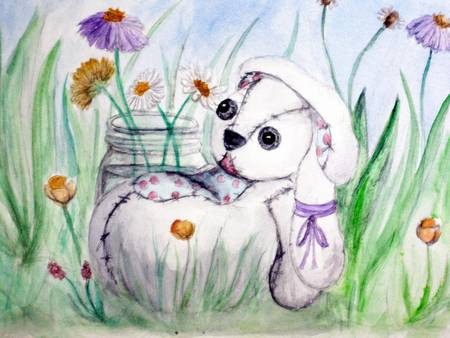 Poor Sad Bunny with Flowers by Heather Young
