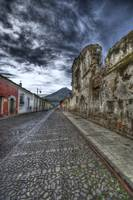 Cobbled Street and Volcano