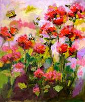 Flowers & Bees Original Oil Painting Impressionism