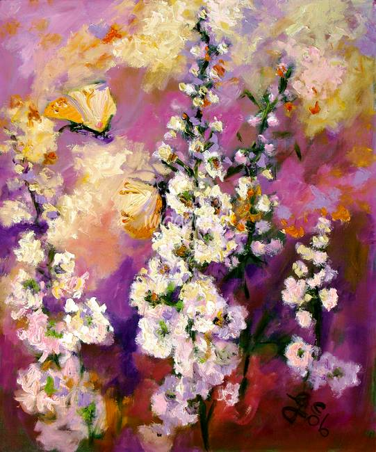 Hollyhock & Butterflies Original Fine Art