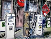 vintage art print route 66 gas station