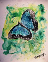 blue butterfly yupo painting