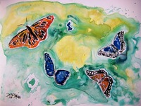 butterflies yupo painting