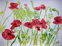 poppy flower yupo painting