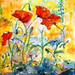 Red Poppies Provencale Watercolor Painting Posters