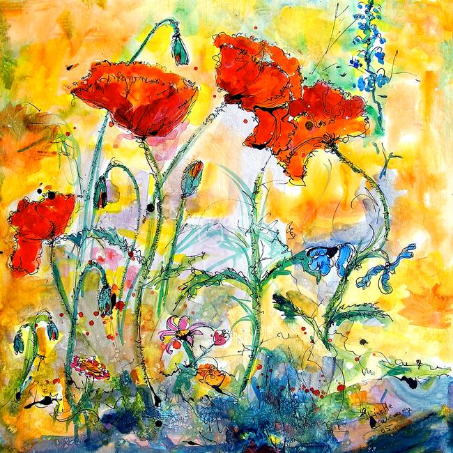 Red Poppies Provencale Watercolor Painting by Ginette Callaway
