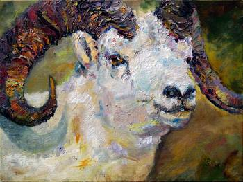 Dall Sheep Ram Original Oil Painting By Ginette Callaway