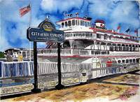 savannah river queen boat art painting
